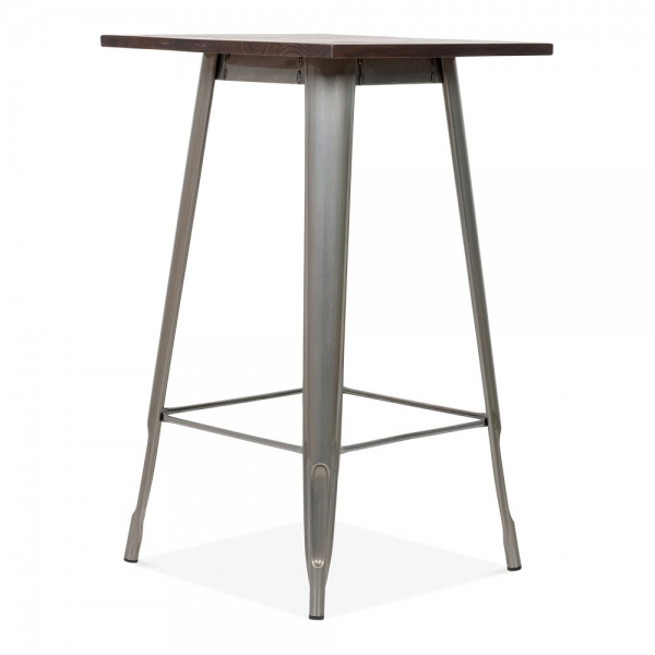 Tolix Style Metal Bar Table Solid Elm Wood Gunmetal 102cm