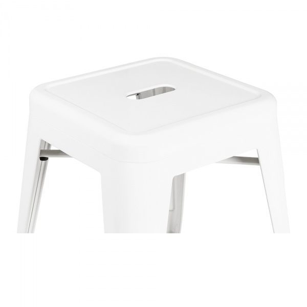 Fabulous Tolix Style Metal Low Stool White 45Cm Gmtry Best Dining Table And Chair Ideas Images Gmtryco