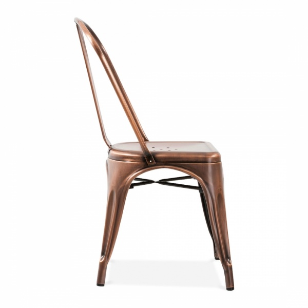 Elegant Xavier Pauchard Tolix Style Metal Side Chair   Brushed Copper
