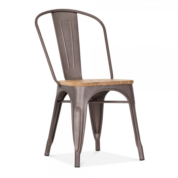 Tolix Style Metal Side Chair Solid Elm Wood Rustic