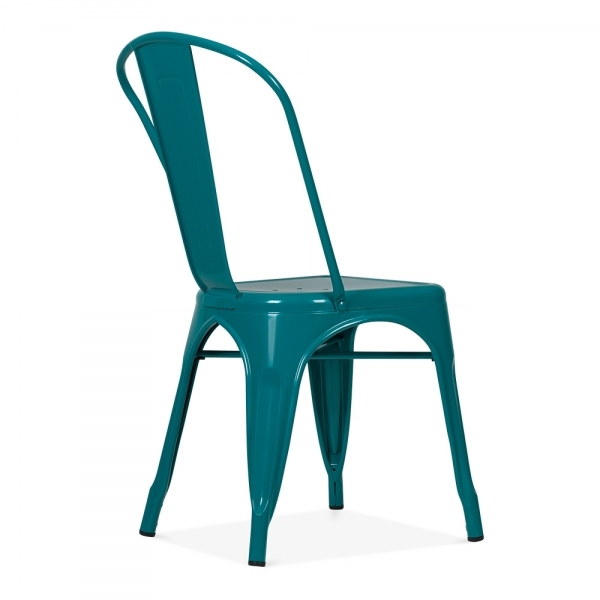 Xavier Pauchard Tolix Style Metal Side Chair   Teal