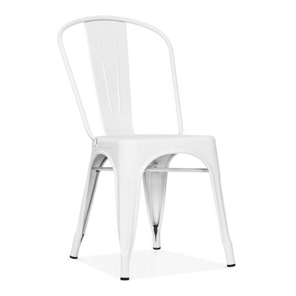 Xavier Pauchard Tolix Style Metal Side Chair   White