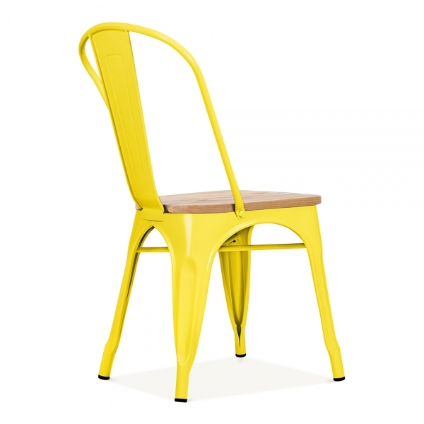 Xavier Pauchard Tolix Style Metal Side Chair With Natural Wood Seat   Yellow