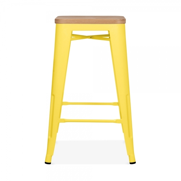 Yellow With Natural Wood Seat 65cm Tolix Style Stool Cult Uk