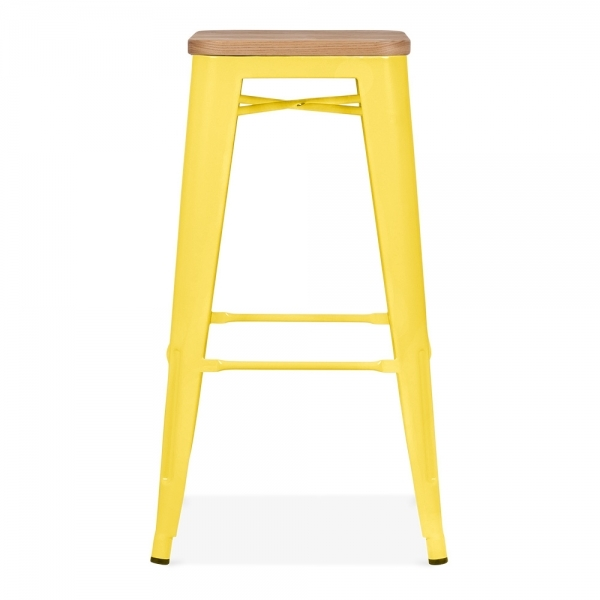 Yellow With Natural Wood Seat 75cm Tolix Style Stool Cult Uk