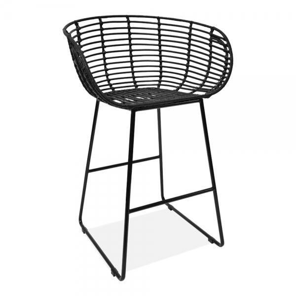 Surprising Yana Woven Rattan Bar Stool With Backrest Black 68Cm Machost Co Dining Chair Design Ideas Machostcouk