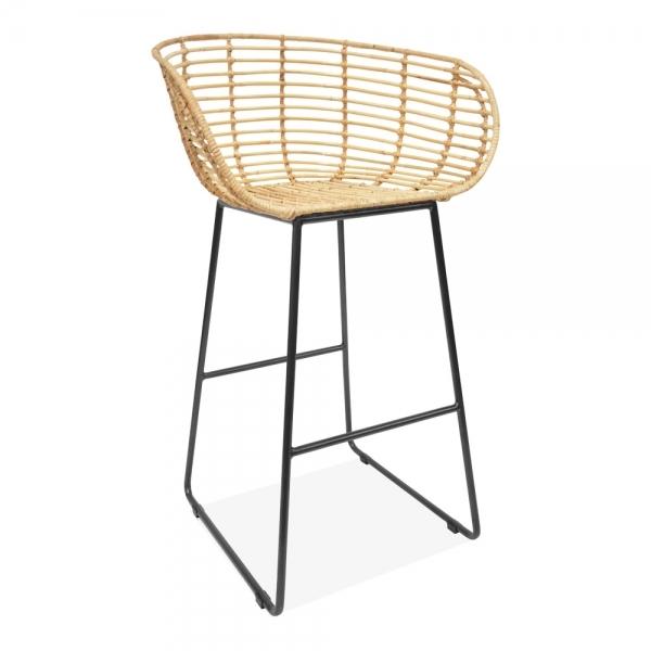 Surprising Yana Woven Rattan Bar Stool With Backrest Natural 77Cm Machost Co Dining Chair Design Ideas Machostcouk