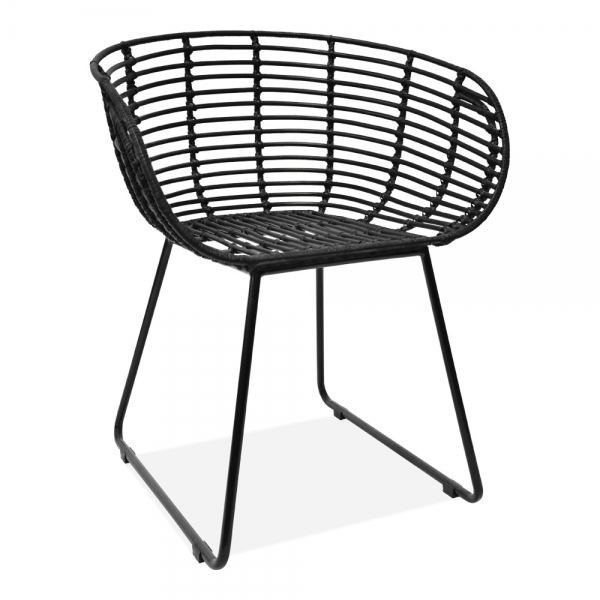 Awesome Yana Woven Rattan Dining Chair Black Ncnpc Chair Design For Home Ncnpcorg