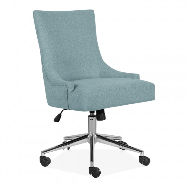 Yuma Swivel Office Chair Fabric Upholstered Light Blue