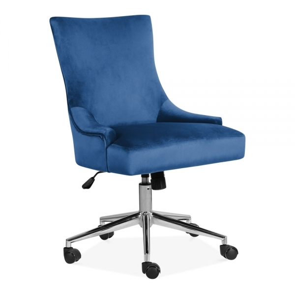 Fine Yuma Swivel Office Chair Velvet Upholstered Royal Blue Gmtry Best Dining Table And Chair Ideas Images Gmtryco