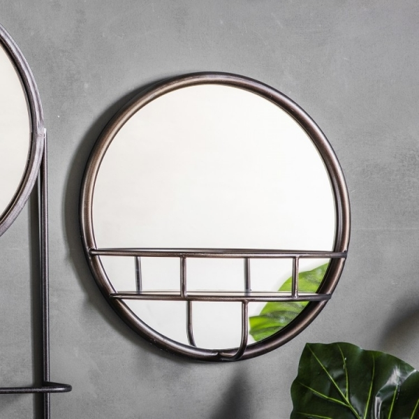 Zaiden Small Round Wall Mirror With Rack Rustic