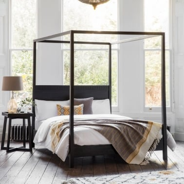 Zephyr King Size 4 Poster Bed, Solid Mango Wood, Black