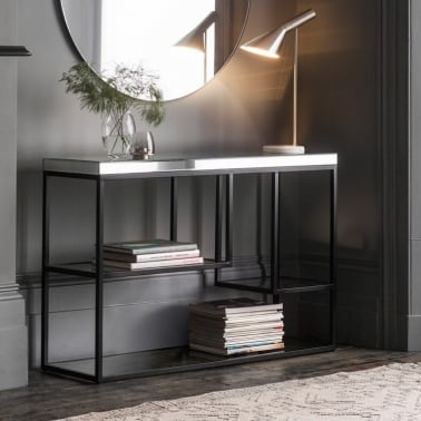 Zurl Gl Top Console Table Black